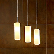 Lámpara Decorativa Colgante Acero Troy  3 Luces Blanco