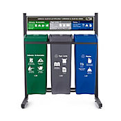 Punto Ecológico 3 Puntos No Reciclable, Papel Cartón, Plástico 53 Lt