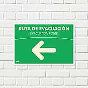 Senal Ruta Evacuación Izquierda Fotoluminiscente 22x15cm