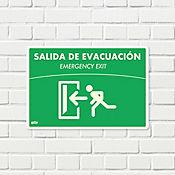 Senal Salida Evacuación Izquierda Fotoluminiscente 22x15cm