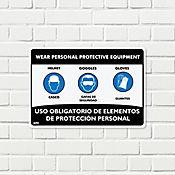 Senal Uso Oblig Elem Prot Casc-Gaf-Guan 35x24cm