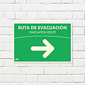 Senal Ruta Evacuación Derecha Fotolumin. 35x24cm