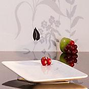 Plato rectangular 31 cm blanco cera