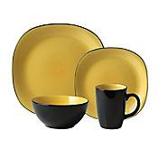 Vajilla Ceramica Bali Mostaza 4 Puestos 16 Piezas