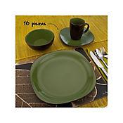 Vajilla Ceramica Bali Verde 4Ptos 16Pzas