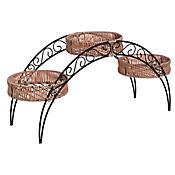 Base arco acero decorada para 3 materas ratán