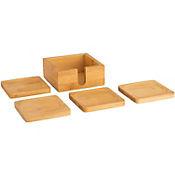 Set x 4 Portavasos Con Caja en Bambu