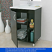 Kit Mueble Baño Piso + Lavamanos Quadratto 63x48 cm blanco/Wenge