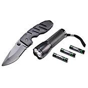 Kit  linterna + cuchillo camping