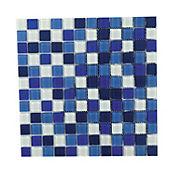 Mosaico vidrio azul blanco 4mm 30 x 30 cm unidad