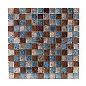 Mosaico vidrio café azul 8 mm 30 x 30 cm unidad
