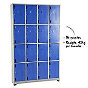 Locker Metálico 16 Puestos 200x123x30 cm Gris Azul