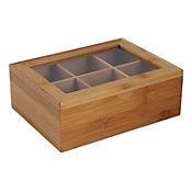 Caja Multiusos con Tapa y Divisiones en Bambu de 21 x 16 x 7.5 cm