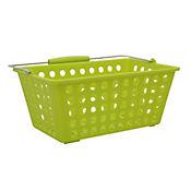 Canasta plástica con manija  29.5x18x12.5 cm Verde