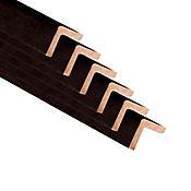 Esquinero wengue 6 unidades 2 cm ancho x 2 cm espesor 2,5 metros largo cbl