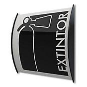 Senal Extintor Aluminio Curvo 15x15cm Adhesivo