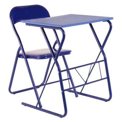 Escritorio metal silla plegable azul for Mesa plegable falabella