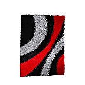 Tapete Shaggy Ondas 60x110 cm Negro - Rojo