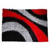 Tapete Shaggy Ondas 150x220 cm Negro - Rojo
