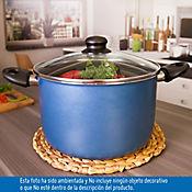Olla de 24 cm Antiadherente con Tapa de Vidrio Azul