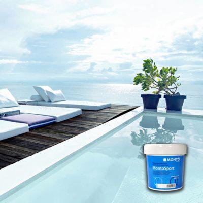 Pintura para piscinas base agua azul 4lt for Piscina 8000 litros