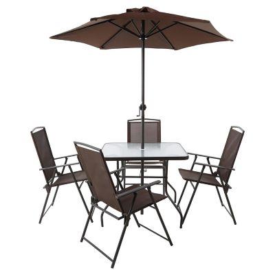 Juego de comedor 4 puestos con parasol para exterior for Columpio de terraza homecenter