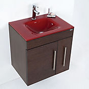 Mueble Flamma con Lavamanos Vitrum 60 cm Wengue