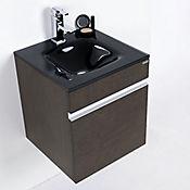 Mueble Fretum con lavamanos Vitrum 45 Nogal