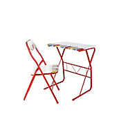 Escritorio Metal + Silla Plegable Lapices Rojo