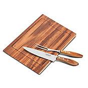 Tabla + Cuchillo + Trinche para Bbq