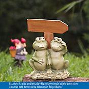 Figura Poliresino 2 Ranas Con Flecha Camino