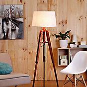 Lámpara de Pie Tripode 1 Luz En madera Caperuza Blanca E27
