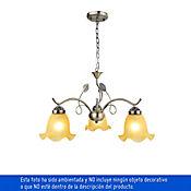 Lámpara Colgante Hojas 3 Luces Rosca E27  Vidrio Dorada