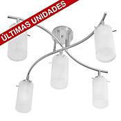 Lámpara para Techo Dirigible 5 Luces Rosca E27 Satín - Vidrio