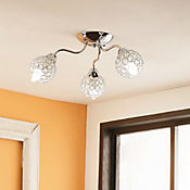 Lámpara para Techo 3 Luz Rosca E14 40w Cromo - Cristales