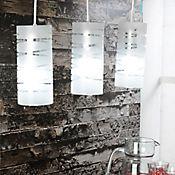 Lámpara Colgante Cilindro 3 Luces Rosca E27 60w Líneas Cromo - Vidrio