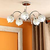 Lámpara De Cristal Para Techo Poulsen 5 Luces Rosca E14 60w Cromo - Cristales