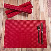 Juego de 4 Individuales Tejidos de 45 x 30 cm en Pvc Rojo