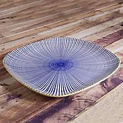 Plato Cuadarado de 27 cm Reactive Colores Rayas Azules