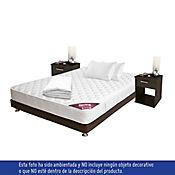Combo Colchón Classic Doble + Base Cama 140x190 cm + 2 almohadas Memory + 2 Mesas de Noche + 1 Protector  Impermeable