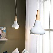 Lámpara Colgante Turco 1 Luz Rosca E27 60w Madera - Blanca
