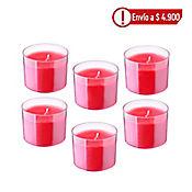 Set x6 Unidades Vela Mini Vaso Sensual Roja