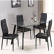 Set comedor vidrio aragon mesa 4 silla for Comedor 4 puestos vidrio