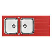 Lavaplatos doble poceta en vidrio templado 116 x 50 x 17 cm - Rojo