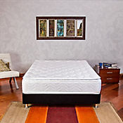 Combo Colchón Columbus Semidoble 120x190 cm Blanco + Base Cama Negra