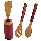 Set x 3 Utensilios en Bamboo con Soporte Rojo