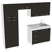 Cocina Integral Ferreti  2.20 metros 11 Puertas 3 Cajones Wengue - Blanco con Mesón y Poceta Derecha Acero Inoxidable