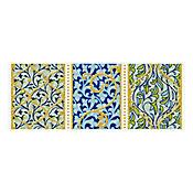 Listello Deva Arabescos Azul 10 x 25 cm