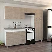 Cocina Integral Ferreti 2.20 metros con Mesón y Poceta a la Izquierda - Blanco Ceniza