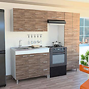 Cocina Ferreti 2.20 metros con mesón y poceta a la izquierda - Blanco siena